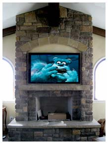 Plasma TV Installed Above Fireplace